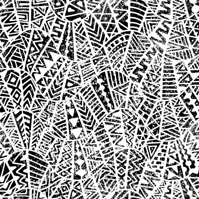 геометрическая картина безшовная Орнамент в стиле заплатки grunge иллюстрация штока