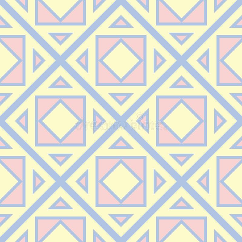 геометрическая картина безшовная Побледнейте - голубая предпосылка с бежевыми и розовыми элементами бесплатная иллюстрация