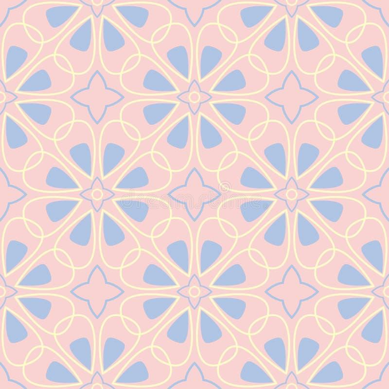 геометрическая картина безшовная Побледнейте - розовая предпосылка с голубыми и бежевыми элементами бесплатная иллюстрация