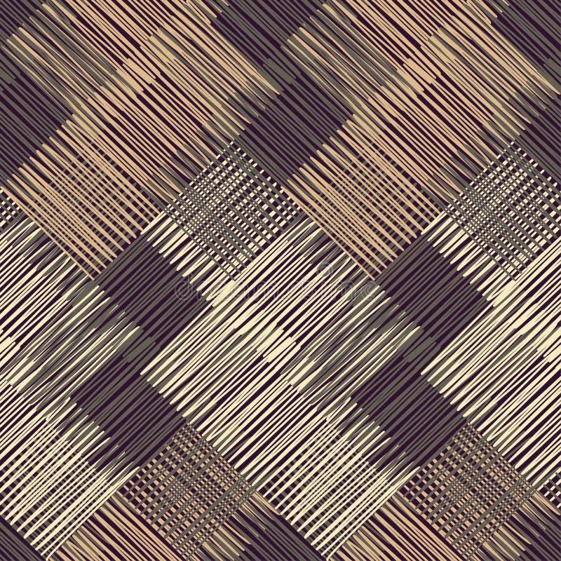 геометрическая картина безшовная Пол Брайна с деревянной текстурой азиатская циновка Текстура Scribble иллюстрация вектора