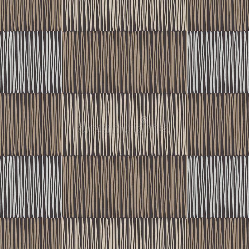 геометрическая картина безшовная Пол Брайна с деревянной текстурой азиатская циновка Текстура Scribble иллюстрация штока