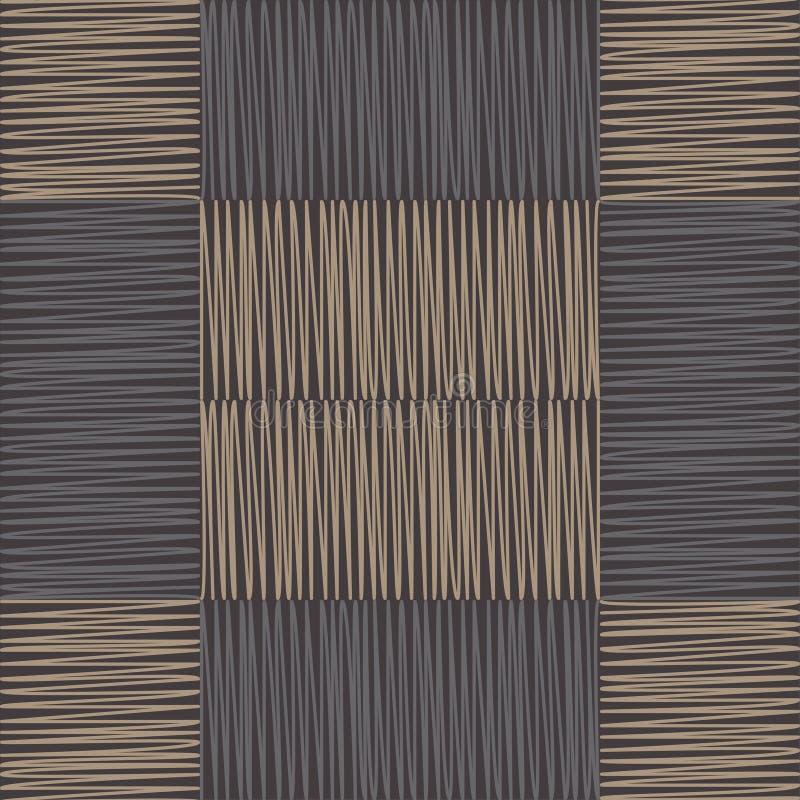 геометрическая картина безшовная Пол Брайна с деревянной текстурой азиатская циновка Текстура Scribble бесплатная иллюстрация
