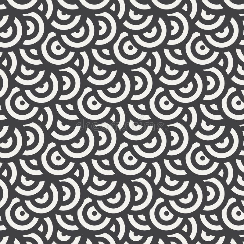Геометрическая картина вектора, повторяющ форму круга с белым и черным цветом Графический очистите для обоев, ткани, бесплатная иллюстрация