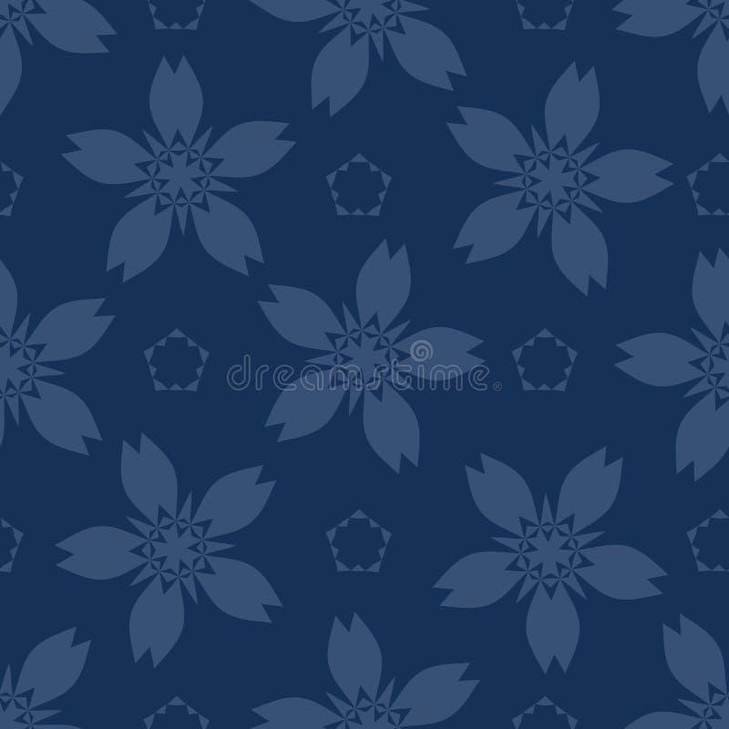 Геометрическая картина вектора японского стиля мотива цветка безшовная Синь индиго руки вычерченная флористическая иллюстрация вектора