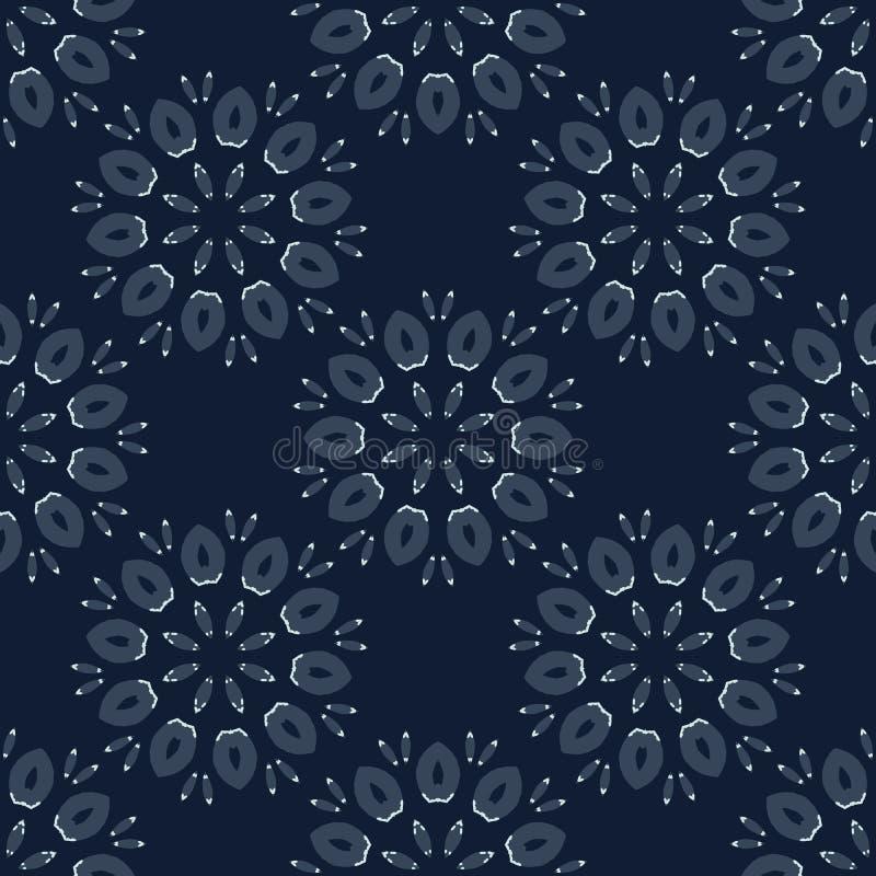 Геометрическая картина вектора японского стиля мотива цветка безшовная Рука бесплатная иллюстрация