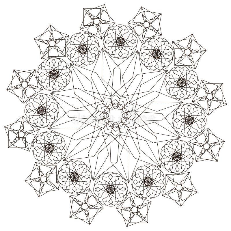 Геометрическая картина в черно-белом Страница для книжка-раскраски иллюстрация вектора