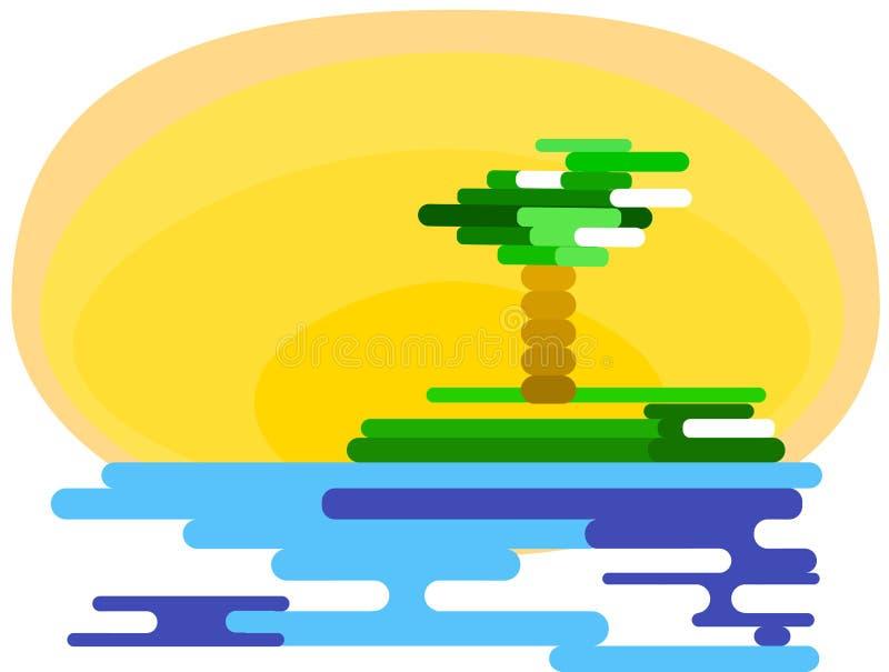 Геометрическая картина моря и острова Диаграмма от диапазонов Море, пальмы o r стоковое изображение