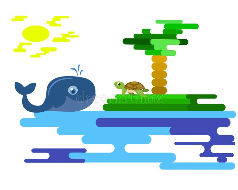 Геометрическая картина моря и острова Диаграмма от диапазонов Море, ладонь, кит и черепаха стоковое фото