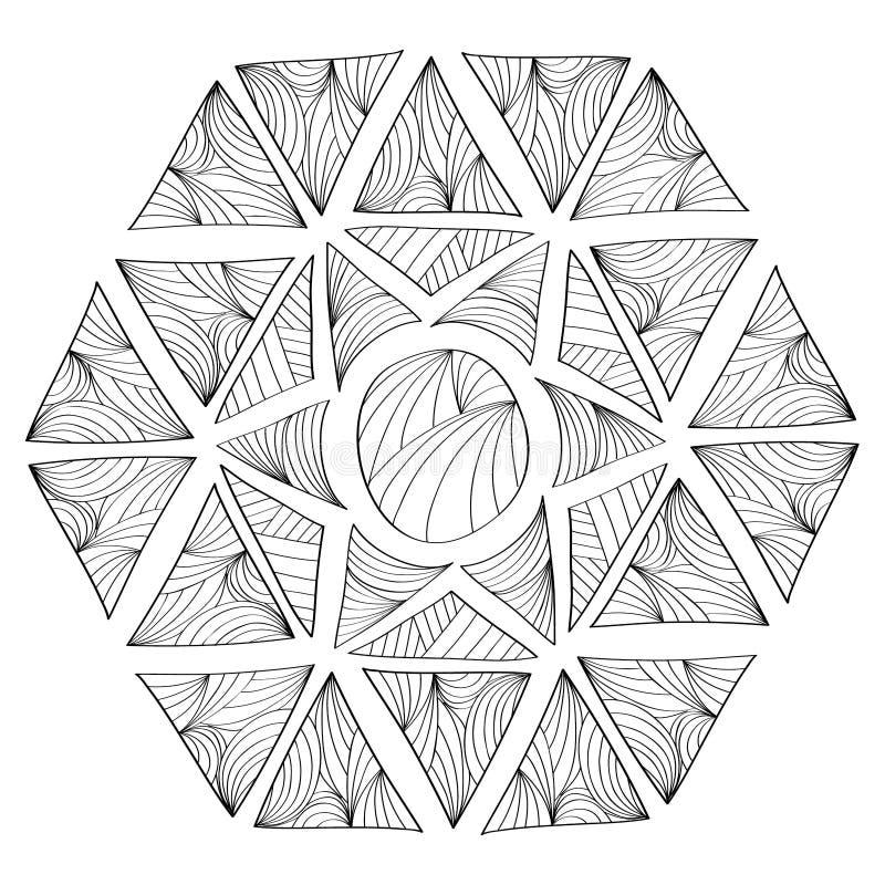 геометрическая картина Страница для книжка-раскраски иллюстрация вектора