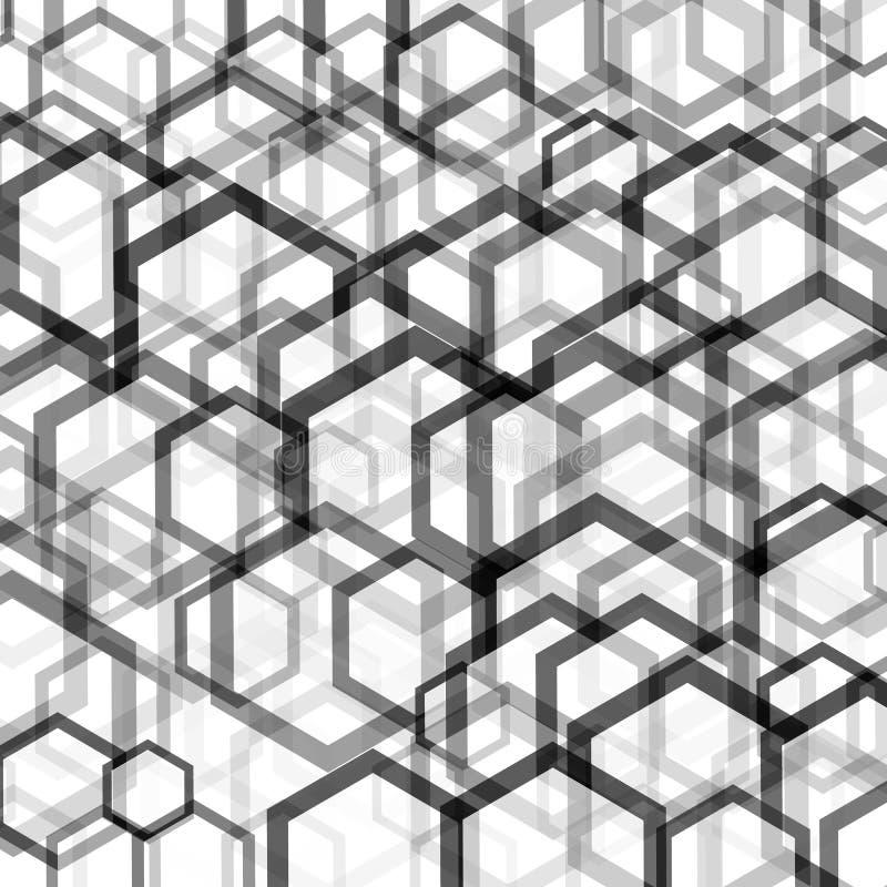 Геометрическая картина с шестиугольниками изображена с черно-белыми тонами в соте бесплатная иллюстрация