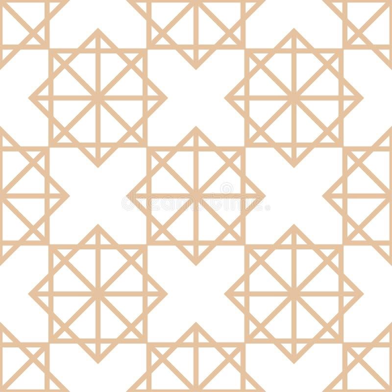 Геометрическая коричневая и белая безшовная картина для тканей иллюстрация штока
