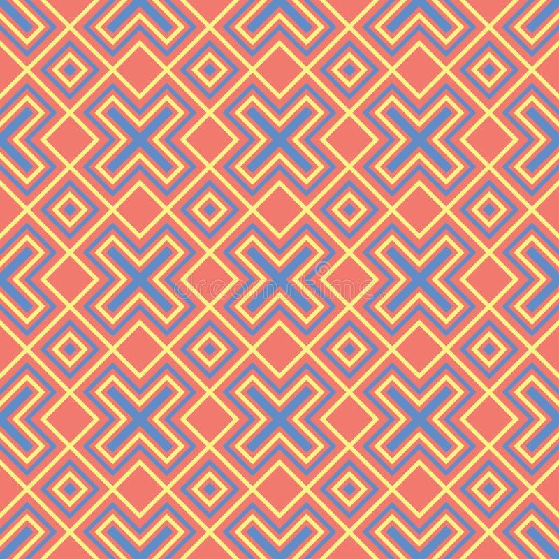 Геометрическая красная оранжевая безшовная картина Яркая предпосылка с дизайном сини и желтого цвета бесплатная иллюстрация
