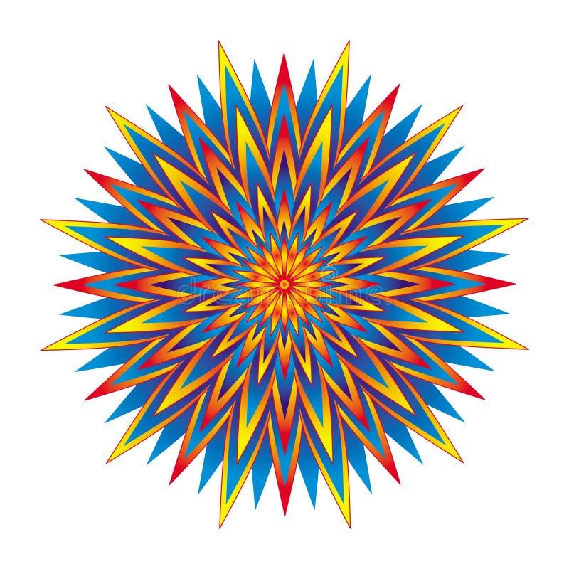 Геометрическая красочная звезда мандалы Круговой орнамент цвета вектор бесплатная иллюстрация