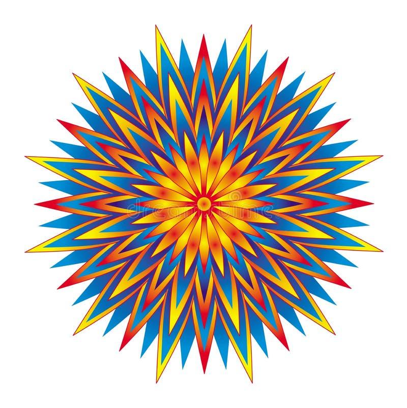 Геометрическая красочная звезда мандалы Круговой орнамент предпосылка рисуя флористический вектор травы иллюстрация вектора