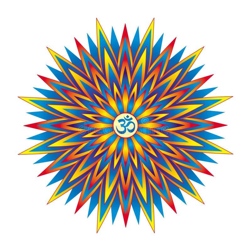 Геометрическая красочная звезда мандалы с Aum/омом/Om подписывает внутри центр предпосылка рисуя флористический вектор травы иллюстрация штока