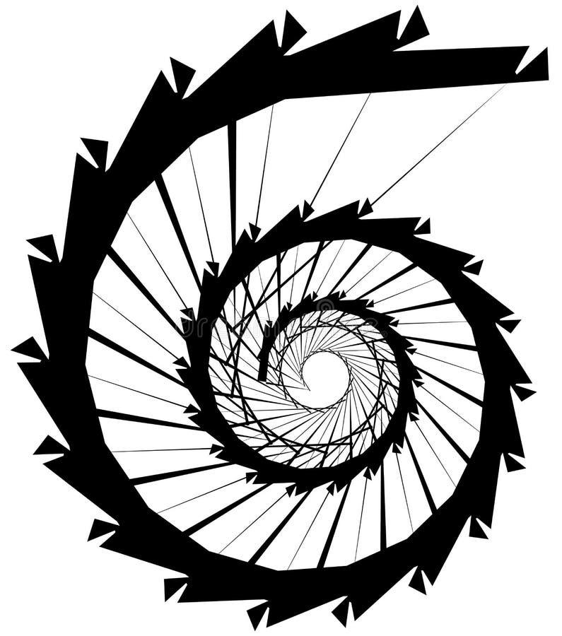 Download Геометрическая круговая спираль Абстрактная угловая, нервная форма в Rotat Иллюстрация вектора - иллюстрации насчитывающей геометрическо, monochrome: 81807356