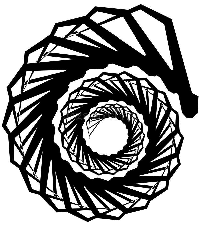 Download Геометрическая круговая спираль Абстрактная угловая, нервная форма в Rotat Иллюстрация вектора - иллюстрации насчитывающей monochrome, центростремительно: 81809131