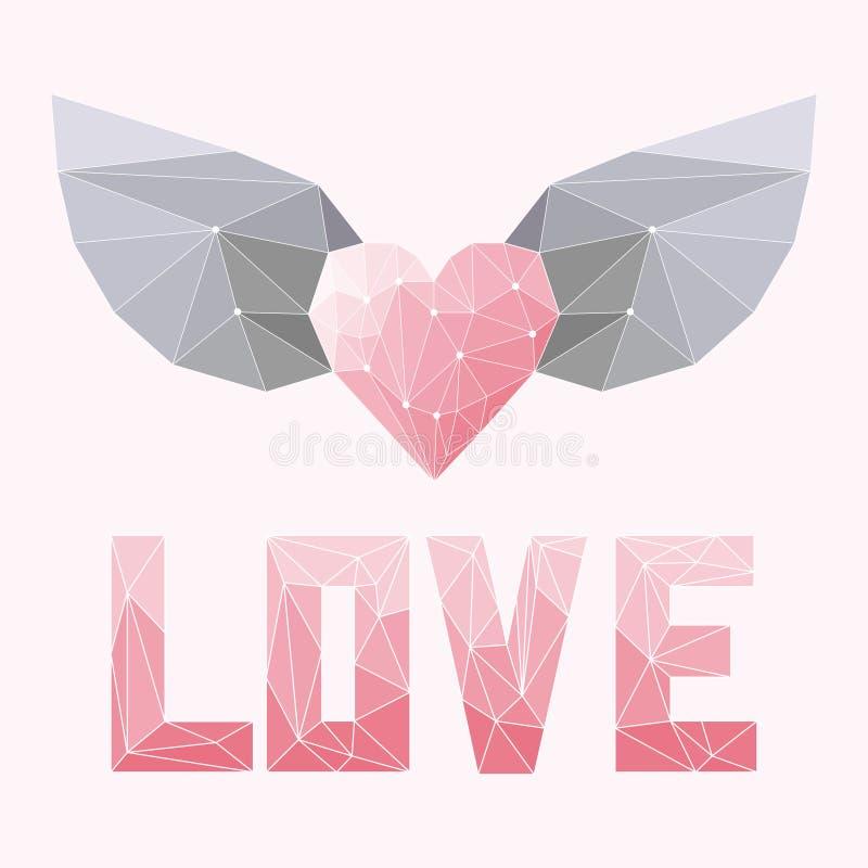 Геометрическая нежность покрасила абстрактное полигональное сердце с крылами и слово влюбленности изолированное на розовой крышке иллюстрация штока