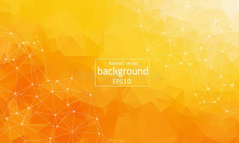 Геометрическая оранжевая полигональная молекула и связь предпосылки Соединенные линии с точками Предпосылка минимализма Концепция иллюстрация штока