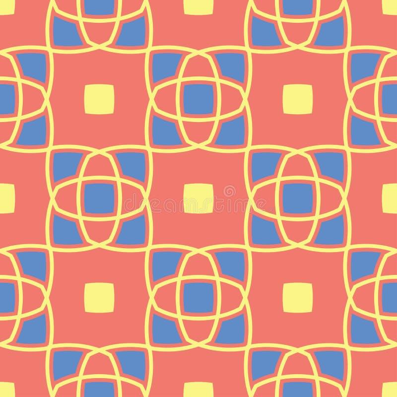 Геометрическая покрашенная безшовная предпосылка Яркие элементы на оранжевой предпосылке иллюстрация штока