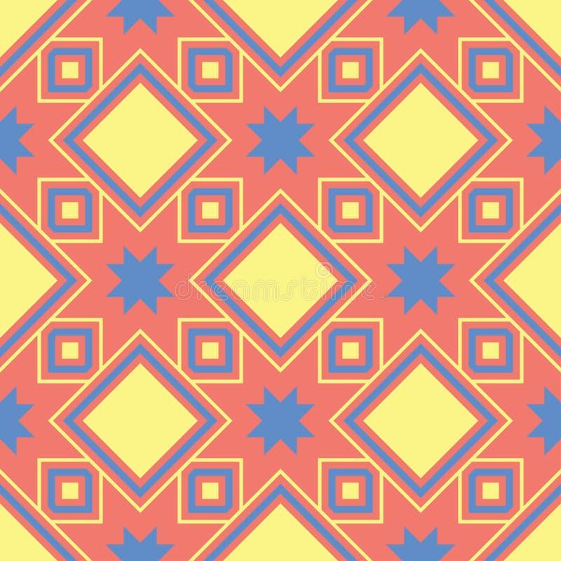 Геометрическая покрашенная безшовная предпосылка Яркие элементы на оранжевой предпосылке иллюстрация вектора