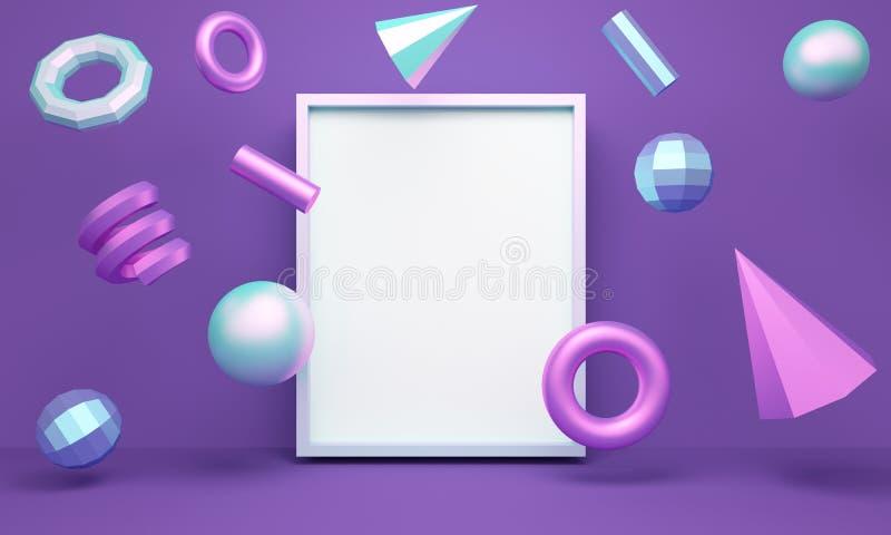 Геометрическая предпосылка конспекта сирени с levitating диаграммами и рамкой r иллюстрация штока