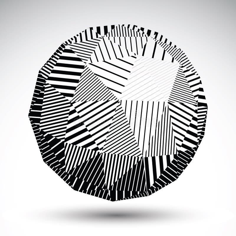 Геометрическая сферически структура с черными параллельными линиями striped иллюстрация вектора