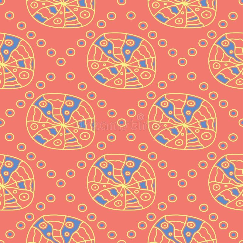 Геометрическая яркая multi покрашенная безшовная предпосылка Голубые и бежевые элементы на оранжевой предпосылке бесплатная иллюстрация