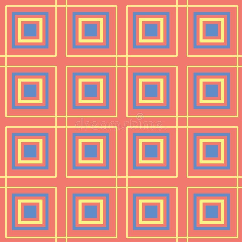 Геометрическая яркая multi покрашенная безшовная предпосылка Голубые и бежевые элементы на оранжевой предпосылке иллюстрация вектора