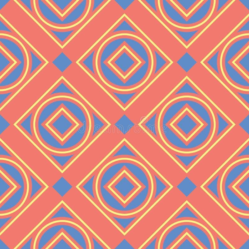 Геометрическая яркая multi покрашенная безшовная предпосылка Голубые и бежевые элементы на оранжевой предпосылке иллюстрация штока