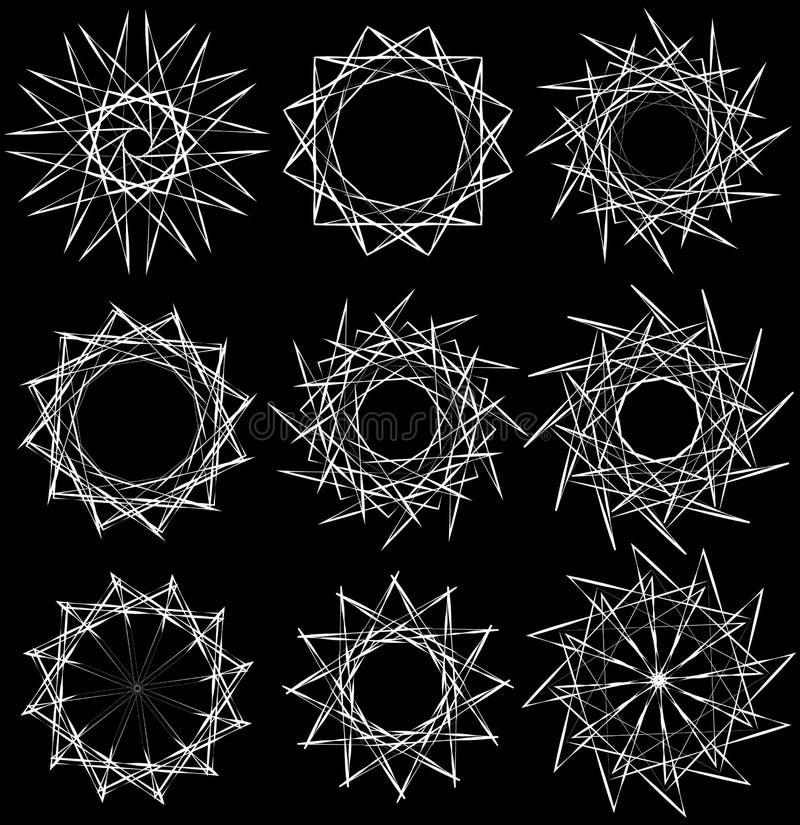 Download Геометрические вращая элементы - радиальные формы Спираль, Elem вортекса Иллюстрация вектора - иллюстрации насчитывающей радиально, monochrome: 81804804