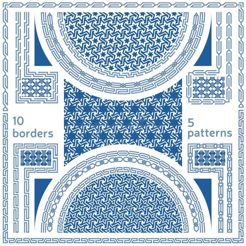 геометрические картины безшовные Комплект 10 абстрактных границ рамки иллюстрация вектора