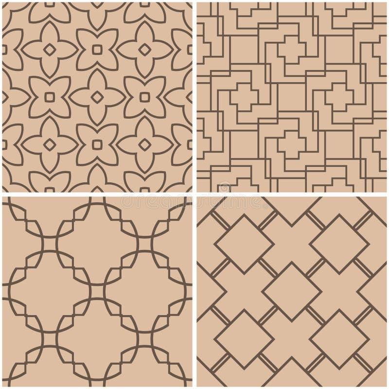 геометрические картины Комплект бежевых и коричневых безшовных предпосылок также вектор иллюстрации притяжки corel иллюстрация вектора