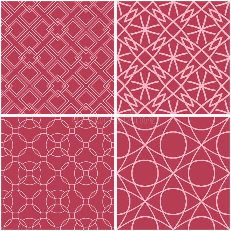 геометрические картины Комплект бледных красных безшовных предпосылок иллюстрация вектора