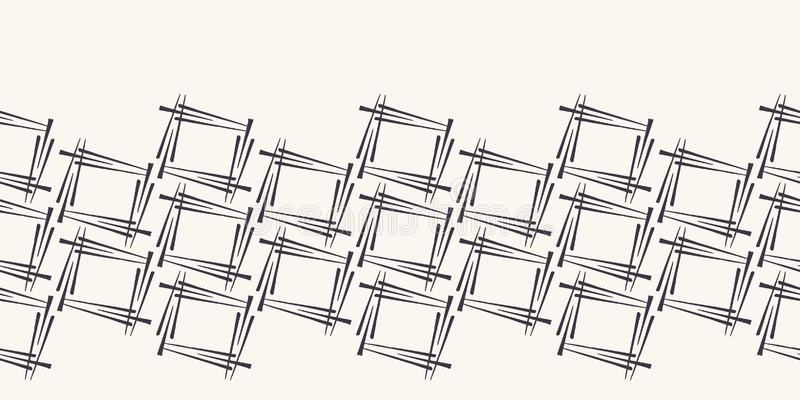 Геометрические квадраты текстурируют границу формы Повторение абстрактной striped предпосылки Monochrome поверхностная лента ткан иллюстрация штока
