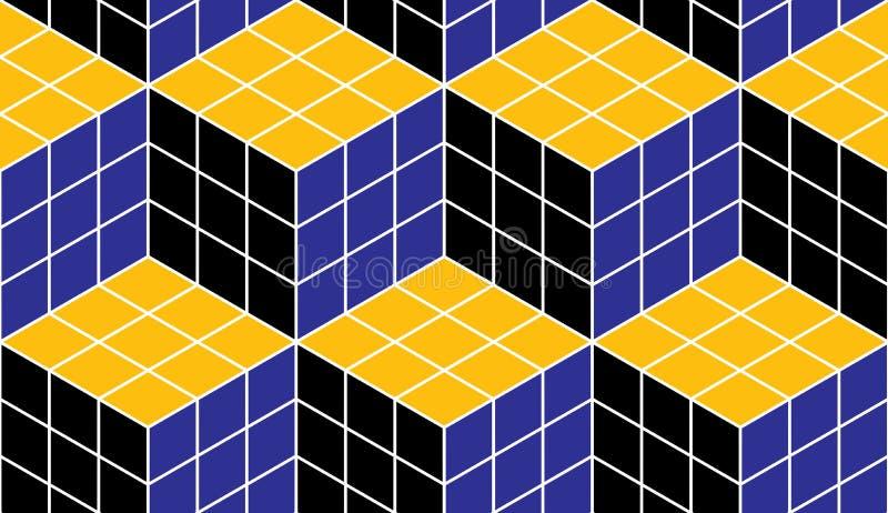 Геометрические кубы резюмируют безшовную картину, предпосылку вектора 3d бесплатная иллюстрация