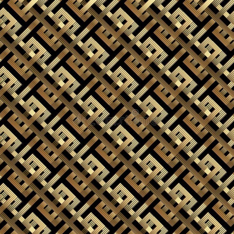 геометрические линии картина золота 3d вектора безшовная Раскосные нашивки, линии, геометрические формы Абстрактная богато украше бесплатная иллюстрация