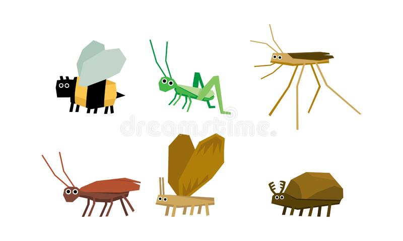 Геометрические насекомые набор, пчела, кузнечик, москит, муравей, иллюстрация вектора ошибки на белой предпосылке иллюстрация вектора