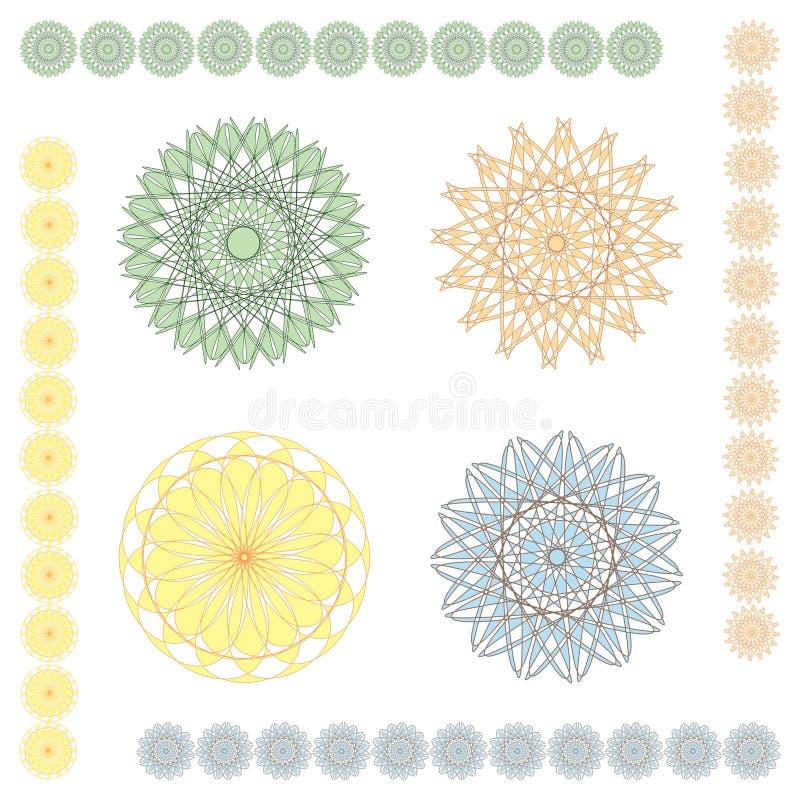 геометрические орнаменты пастельные иллюстрация вектора