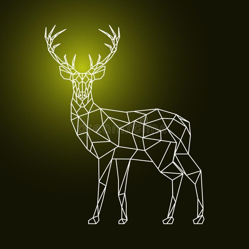 Геометрические полигональные олени на темной предпосылке бесплатная иллюстрация
