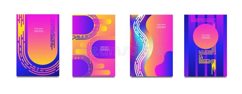 Геометрические установленные крышки Круглый градиент формирует состав Холодный современный неоновый цвет Абстрактные жидкие формы бесплатная иллюстрация