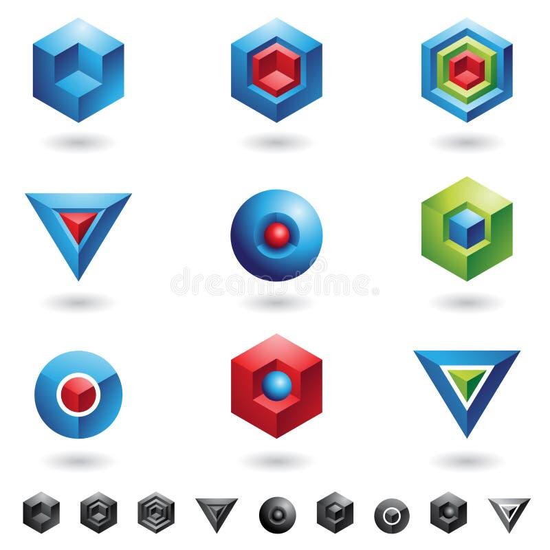 геометрические формы 3d иллюстрация вектора