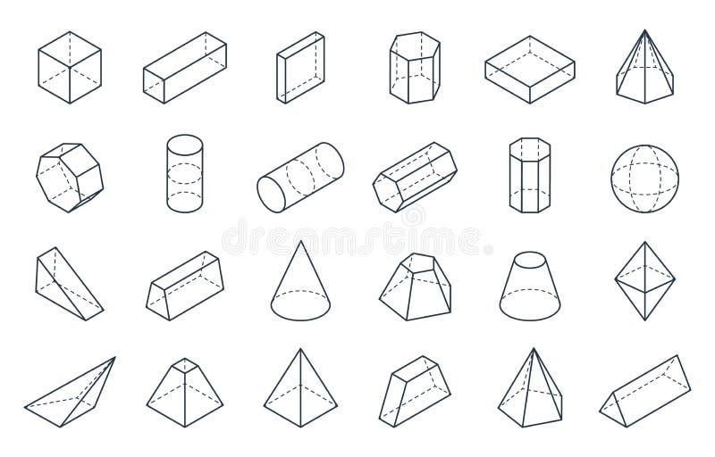 геометрические формы 3D Равновеликие линейные формы, объекты полигона пирамиды цилиндра конуса куба низкие Равновеликое вектора м иллюстрация штока