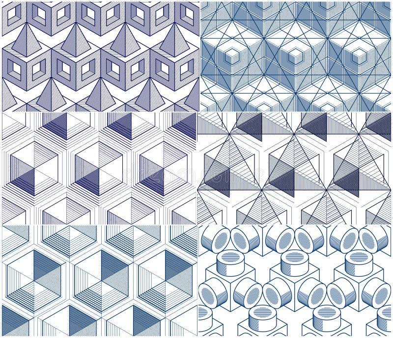 Геометрические 3d линии картины конспекта безшовные установили, backgr бесплатная иллюстрация