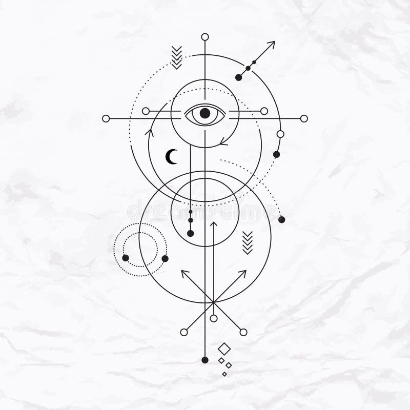 Геометрический абстрактный мистический символ иллюстрация штока