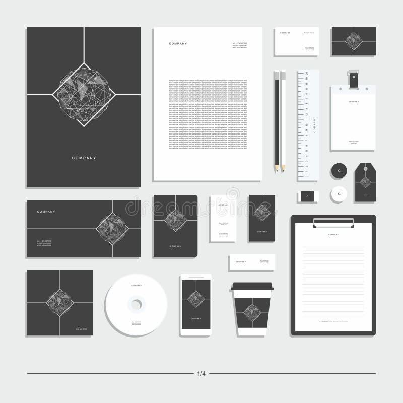 Геометрический абстрактный фирменный стиль, комплект канцелярских принадлежностей иллюстрация штока