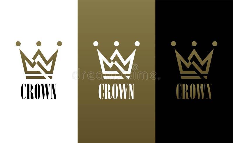 Геометрический винтажный творческий шаблон вектора дизайна логотипа конспекта кроны Логотип символа концепции короля Ферзя винтаж иллюстрация вектора