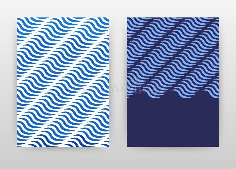 Геометрический голубой дизайн предпосылки дела волн для годового отчета, брошюры, летчика, плаката Голубой конспект картины геоме иллюстрация штока