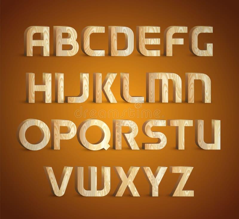геометрический деревянный шрифт текстуры 3d деревянный материальный тип символы алфавита вектор изображения иллюстраций download  иллюстрация штока