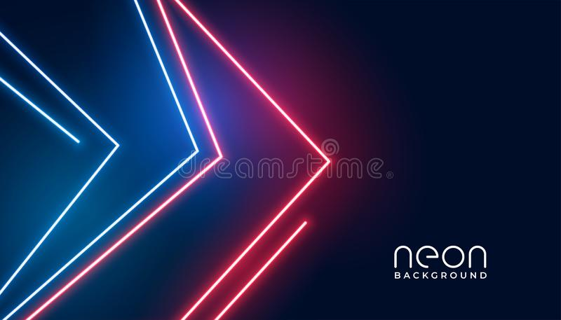 Геометрический дизайн знамени неоновых свет стиля стрелки иллюстрация штока